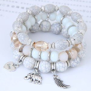3/$20 New White & Silver Beaded Bracelet Set